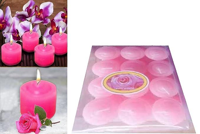 Decoración casetas aroma de rosa con diseño de flor en la parte superior, Set de 12, San Valentín vela, ideal para fiestas, recaudador de fondos, ...