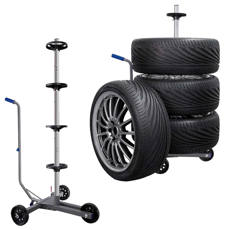Carrello porta cerchioni regolabile da 145 a 220 e 225 fino a 255 mm di larghezza delle gomme Vertrieb durch Preiswert & Gut