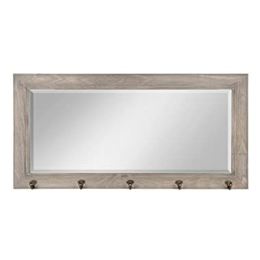 DesignOvation Pub Mirror with 5 Metal Hooks, Rustic Gray