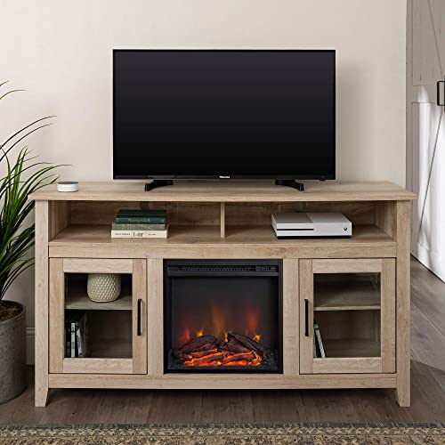 Home Accent Furnishings Lucas 58 Inch Highboy Fireplace Television Stand in White Oak