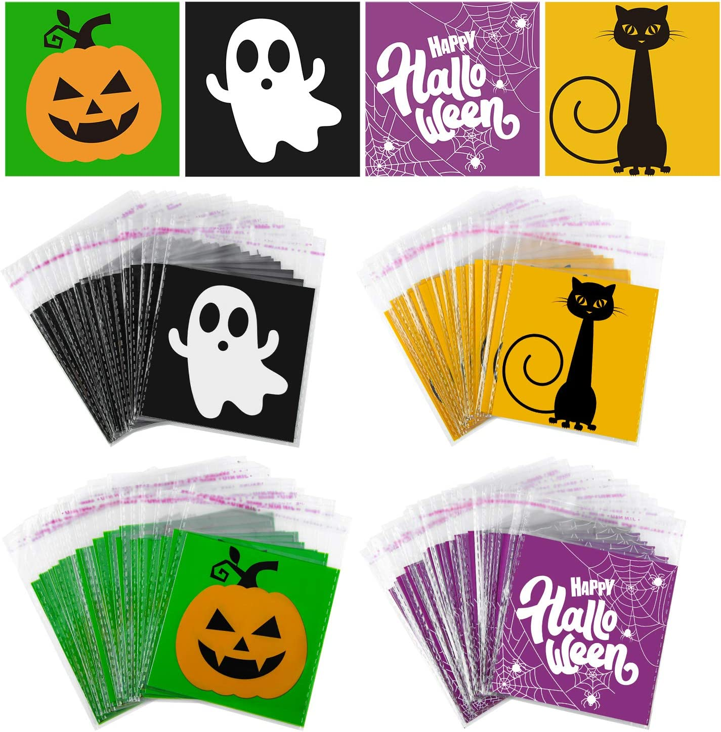 URATOT 200 Pack Halloween Self Adhesive Candy Bags Halloween Trick or Treat Bags Clear Snacks Bags Halloween Party Favors Candy Cookie Bags