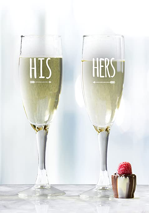 His And Hers Arrow Engraved Wine Glasses Mr And Mrs Wine Glass Set 5 75 Ounce