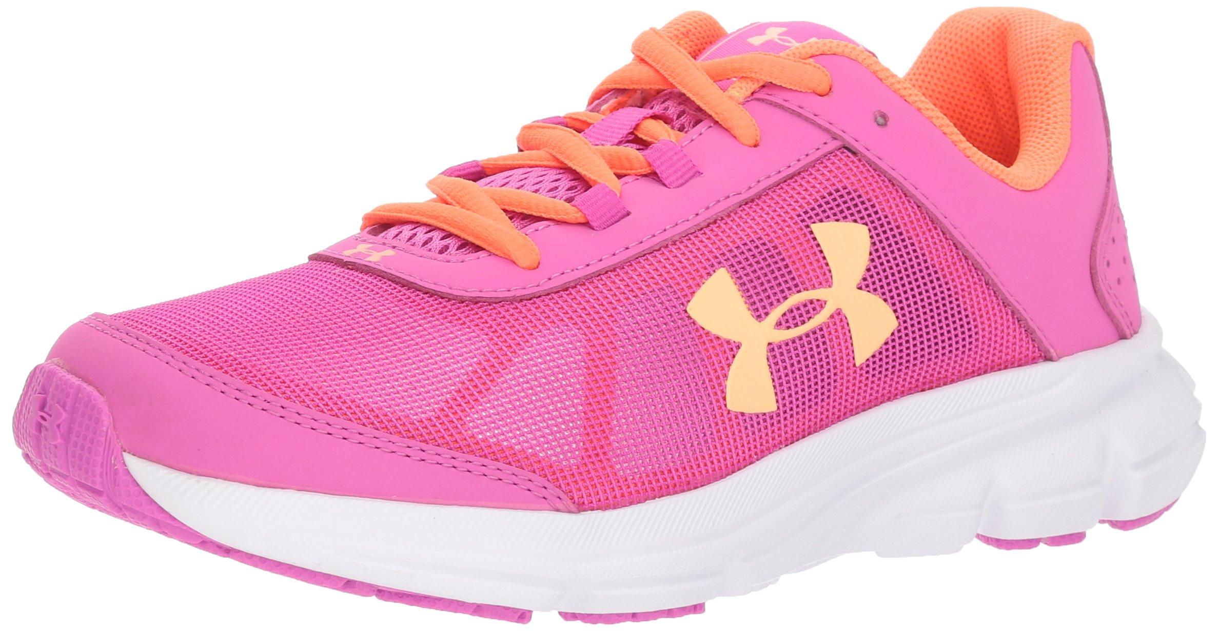 Under Armour Girls' Grade School Rave 2 Sneaker, 502/Fluo Fuchsia, 4