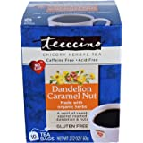 Teeccino Dandelion Caramel Nut Chicory Herbal Tea Bags, Gluten Free, Acid and Caffeine Free, 10 Count