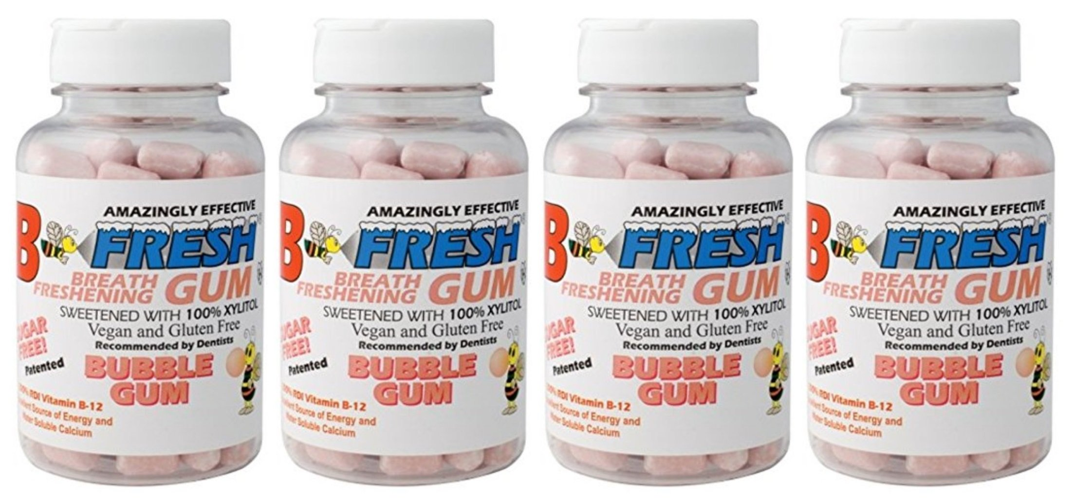 B-Fresh Bubble Gum Flavored Gum, 200 Sugar Free Pieces (Pack of 4)