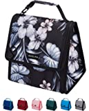 ADOLPH Expandable/Flexible Capacity Insulated Lunch Bag Reuable Leakproof Cooler Bag with Detachable Buckle Handle for Women Men Kids-Black Flower