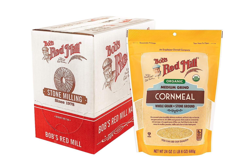 Bob's Red Mill Organic Medium Grind Cornmeal, 24 Ounce (Pack of 4)