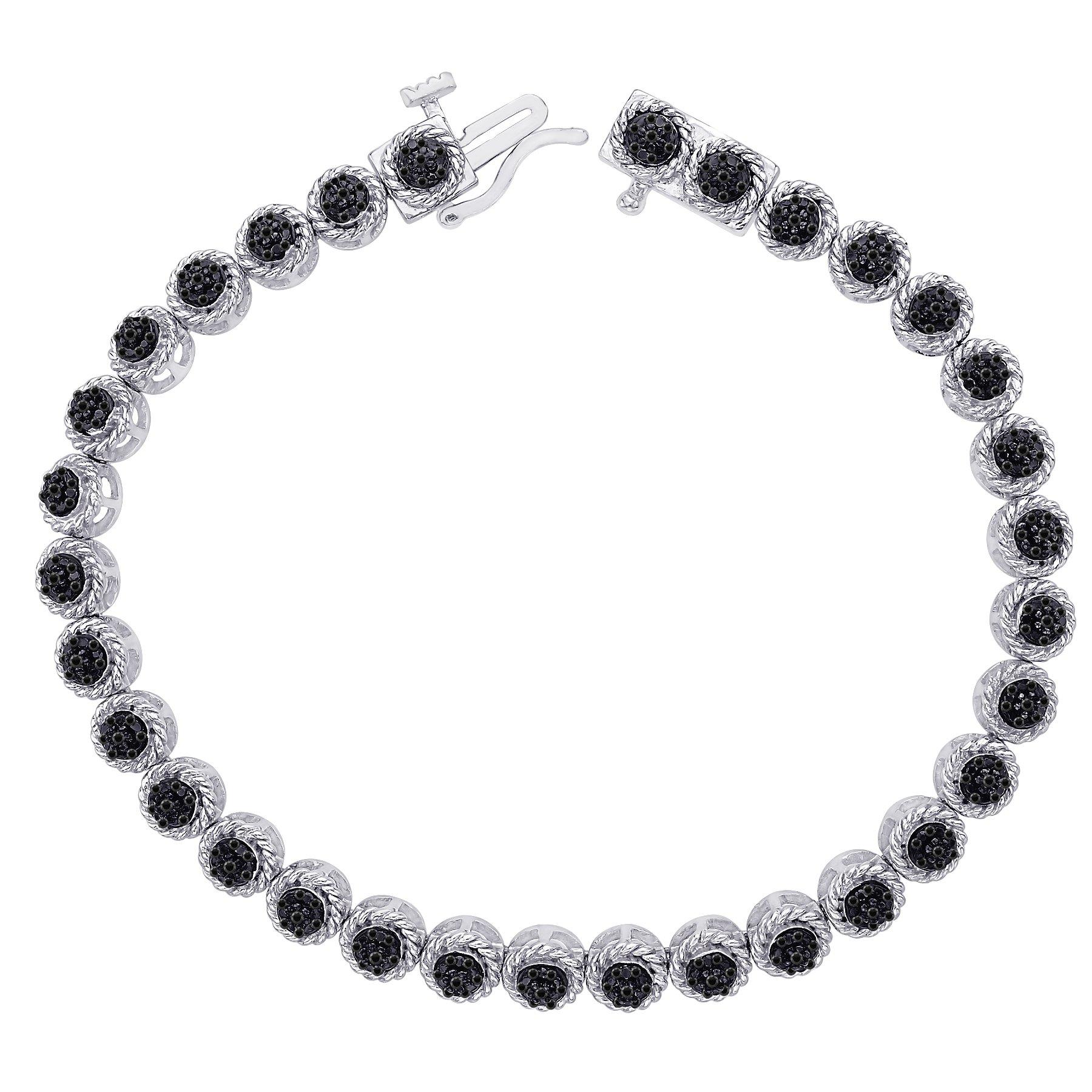 Black Diamond Tennis Bracelet in Sterling Silver (1/5 cttw) by KATARINA