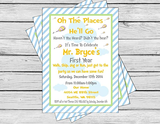 Amazon Oh The Places Youll Go Inspired Birthday Invitation