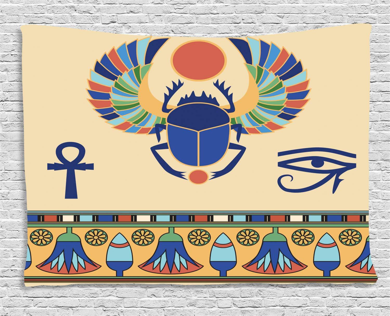 ABAKUHAUS Egipcio Tapiz de Pared, Escarabajo Icono Motivo del Ojo ...