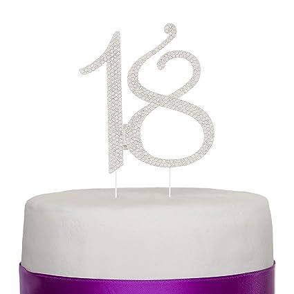 Amazon Ella Celebration 18 Cake Topper 18th Birthday Party Supplies Decoration Ideas Silver Kitchen Dining