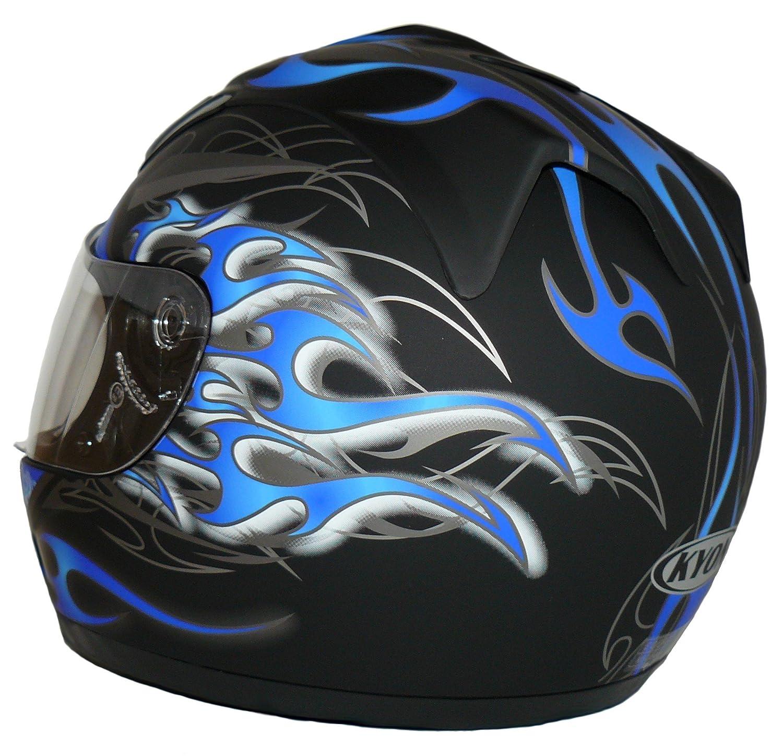 Amazon.es: Protectwear Casco de moto mate azul / llamas azules H-510-GR Tamaño S