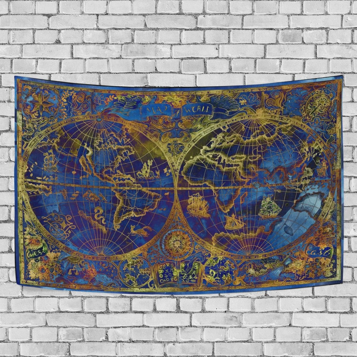 Naanle 60 x 90 Inches Tapestries Gorgeous Old World Map Wall Hanging Tapestry Bedspread Throw for Living Room Bedroom Dorm Decor