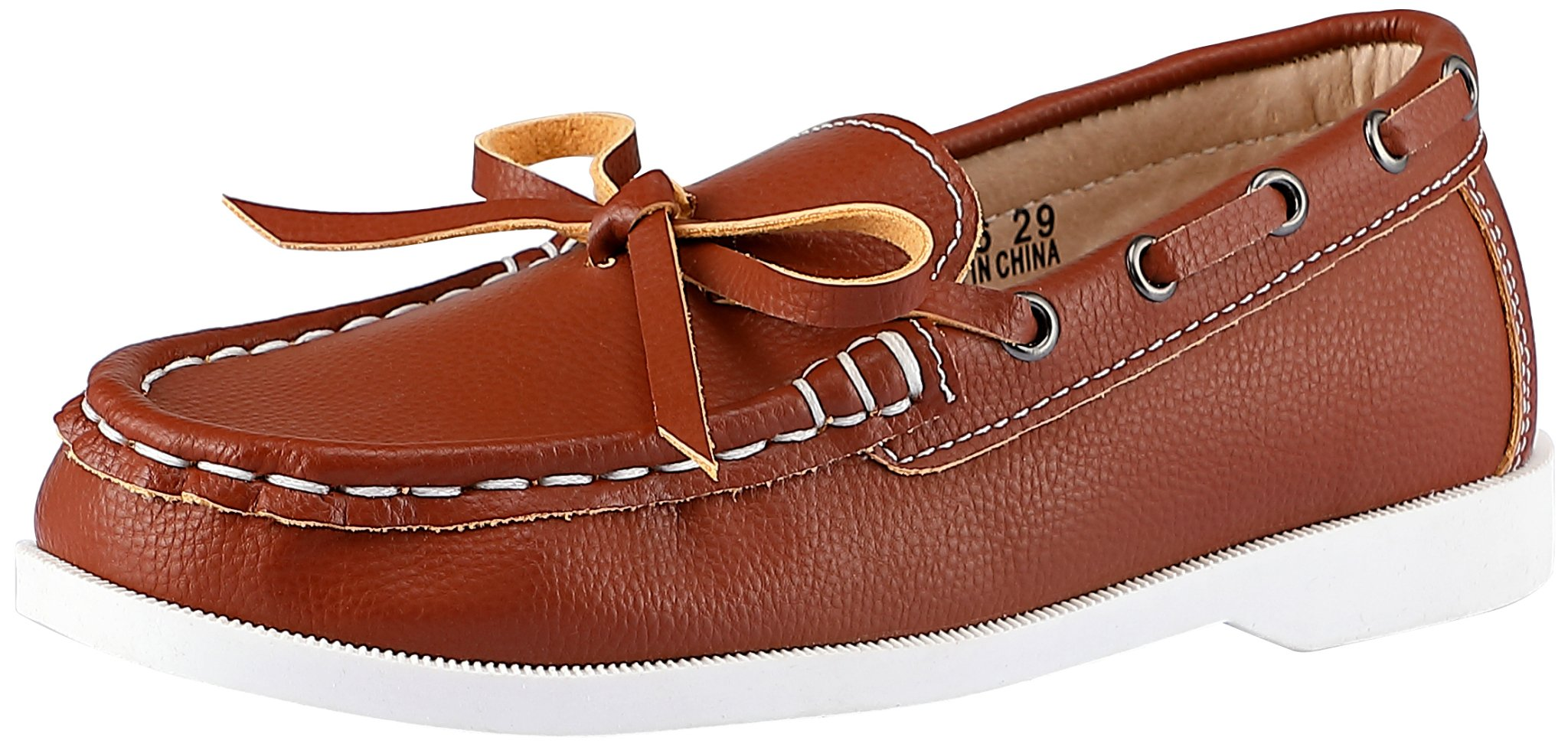 SKOEX Boy's Slip On Boat Deck Shoe Classic Casual Loafer (Toddler/Little Kid) US Size 2.5 Brown(B)