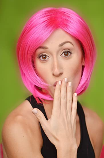 Pink Wig - High Quality 100 % Kanekalon Synthetic Wigs for Women, Short Straight Style