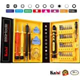 Repair Kit Magnetic Screwdriver Set Precision Tool Kit for iPhone Repair Computer Repair/iPad/Samsung Galaxy/Phone/Tablets/Electronic and Precision Devices, Tool Set with Box, Kaisi 38-Piece CRV