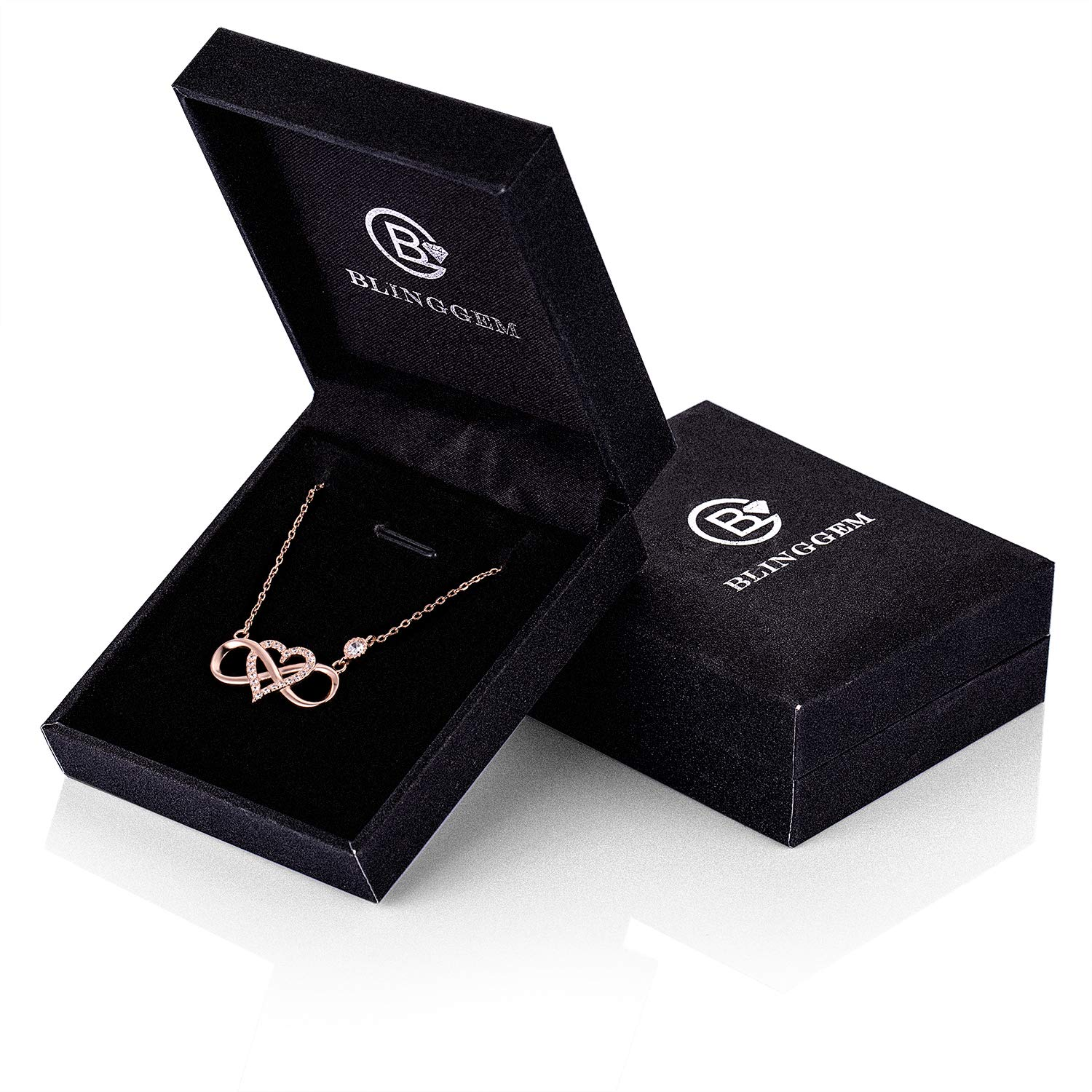 BlingGem Womens Necklace 925 Sterling Silver Infinity Love Pendant with Cubic Zirconia Diamond Heart Jewelry Gift for Graduation Plated 18K Rose Gold