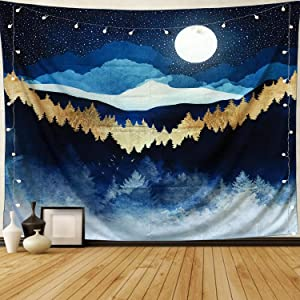 """Mountain Tapestry Moon and Stars Tapestry Wall Hanging Nature Landscape Forest Tapestry for Bedroom and Dorm, W80""""xL60"""""""