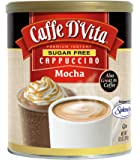 Caffe D'Vita Sugar Free Mocha Instant Cappuccino, 8.5-Ounce Canisters (Pack of 6)