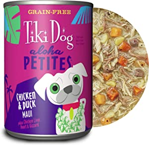TIKI PETS Aloha Petites Gluten & Grain Free Wet Dog Food with Shredded Meat & Superfoods, 9oz 8 cans, Chicken & Duck, 8 cans, 9 oz
