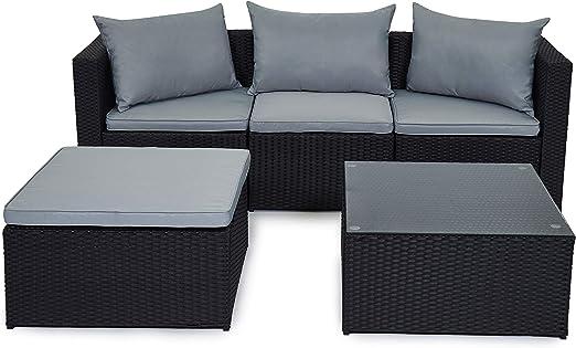 Juego de muebles de jardín de polirratán para exterior, color marrón y negro, con cojines, modelo Málaga, negro: Amazon.es: Jardín