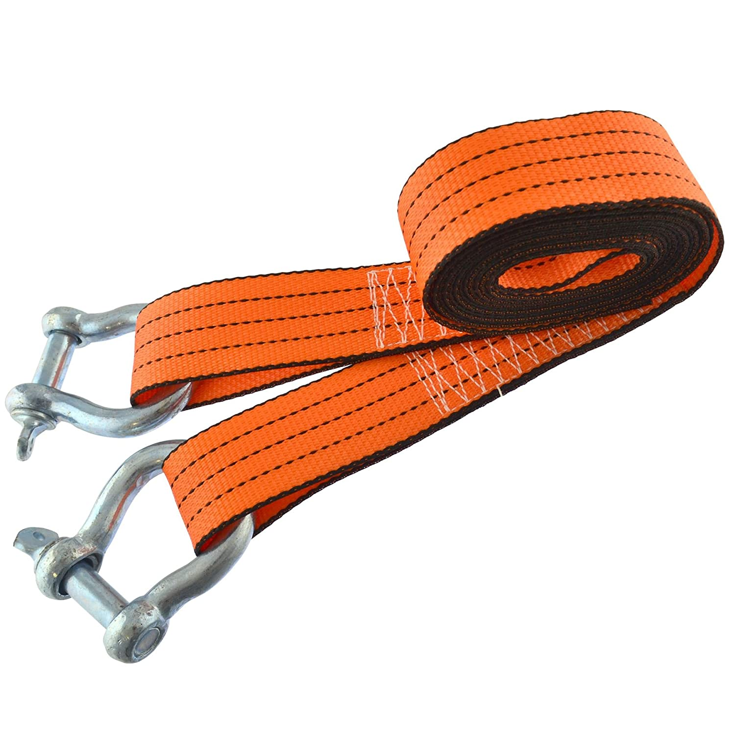 AB Tools Tow Rope//Towing Road Recovery Strap with Two Shackles 4 Metre 3 Ton SM007