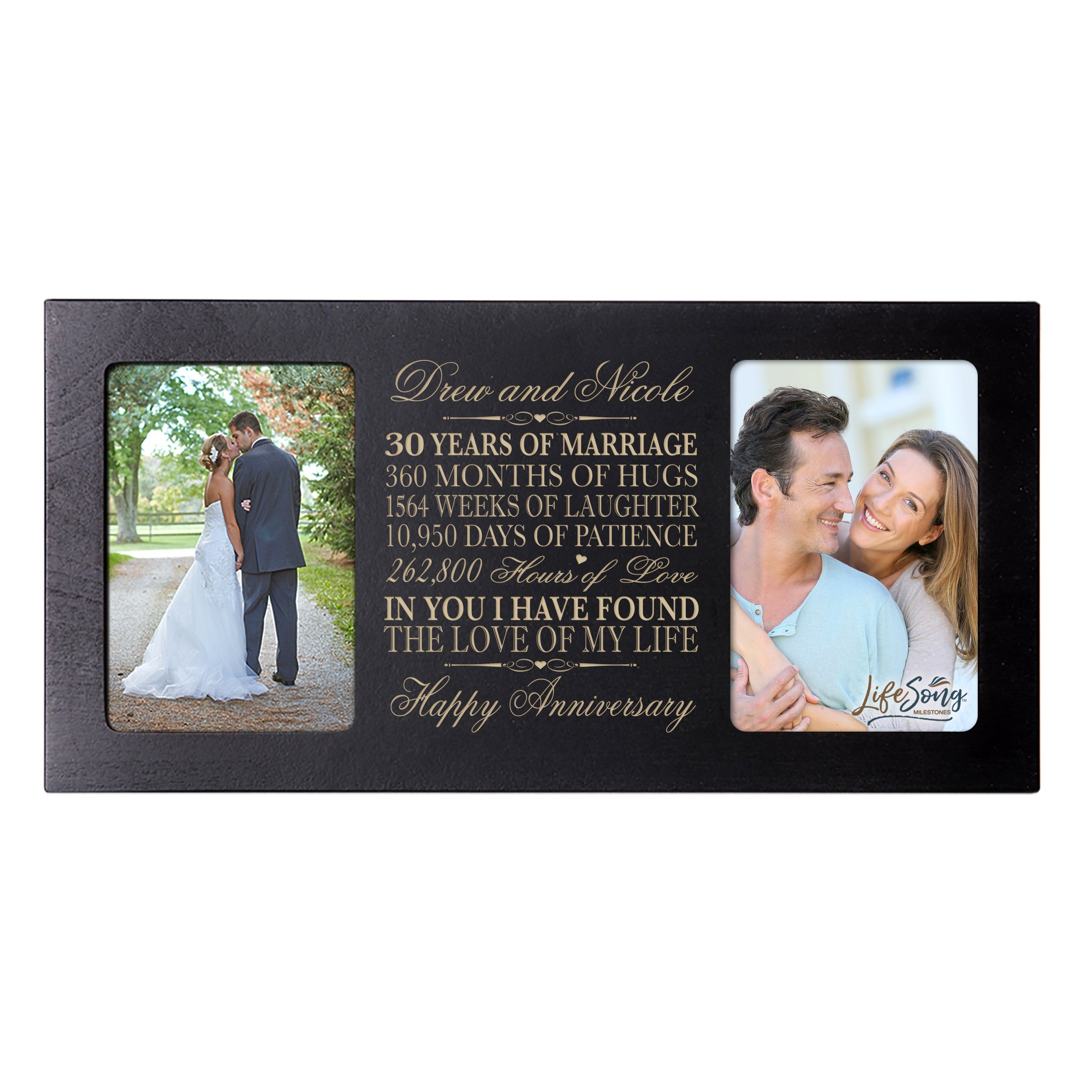 LifeSong Milestones Personalized 30 Year her him Couple Custom Engraved Wedding Celebration for Husband Wife Girlfriend Boyfriend Photo Frame Holds Two 4x6 Photos (Black)