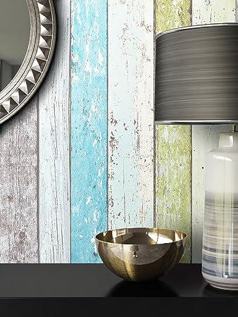 Holz Muster Tapete Vlies Grün Blau Beige Edel | Schöne Edle Tapete Im  Holzwand