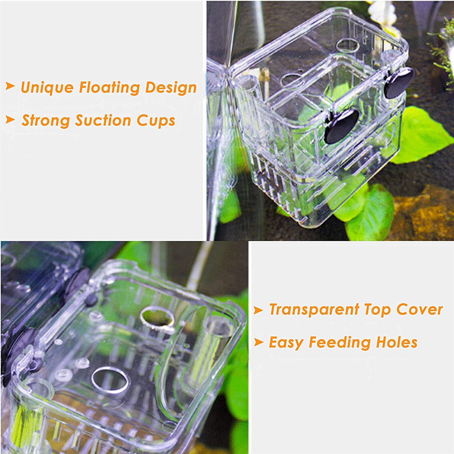 Tiberham Fish Breeding Box Acrylic Floating Fish Hatchery Isolation Box Aquarium Tank Fish Parenting Container Divider with Suction Cups Double Layer Fry Hatching Incubator Breeding Rearing Trap
