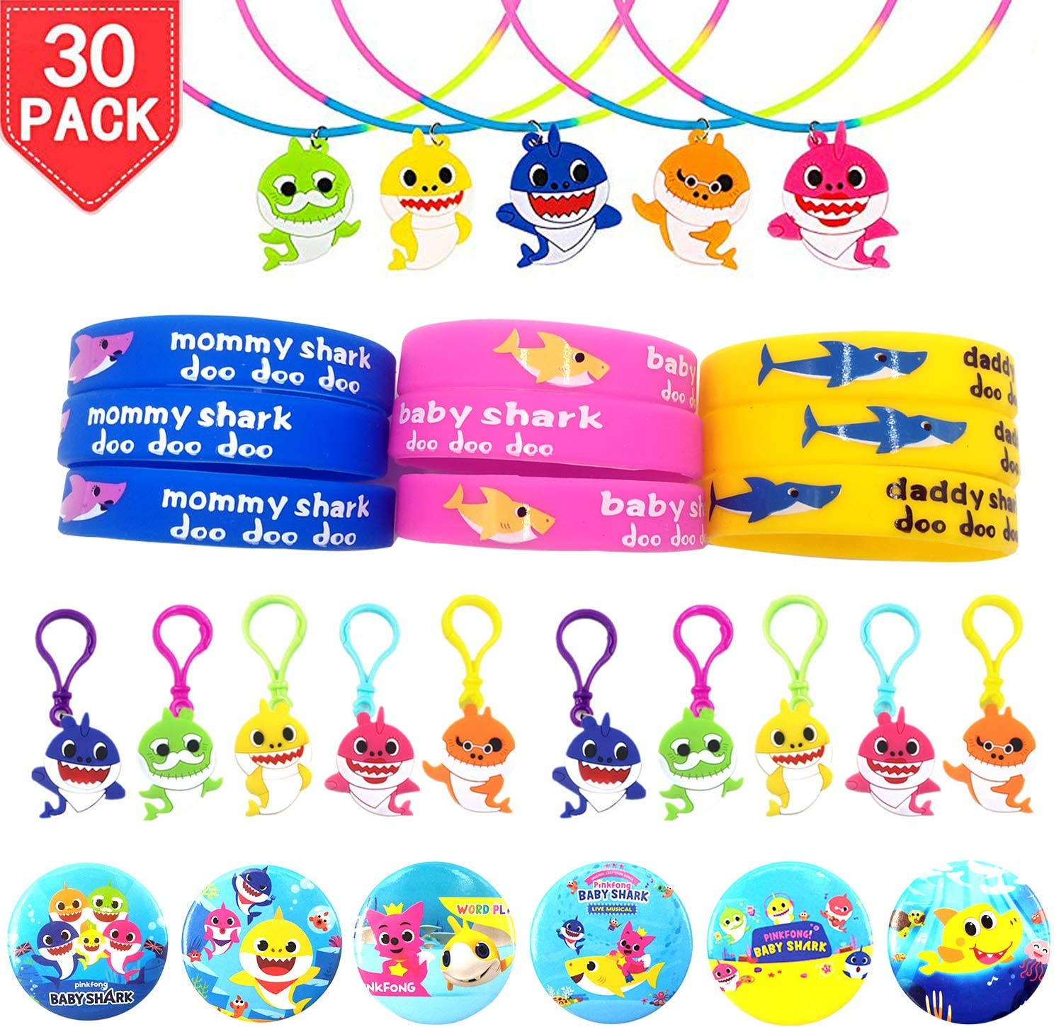 Time-killer Baby Shark Party Favors 30 Pack - Rubber Bracelets/Keychains/Necklace/Badge - Shark Themed Birthday Party Supplies for Kids Treat Bags Gift Fillers (Baby Shark-30)