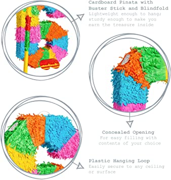 Fax Número de patata 6 Piñata conjunto con el palillo y los ojos vendados - 50 x 7,5 x 35 cm - Rainbow: Amazon.es: Hogar