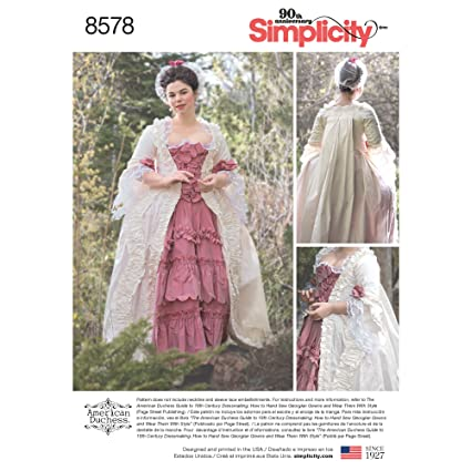 Amazon Simplicity Pattern 40 D40 Misses' 40th Century Gown by Custom Simplicity Patterns