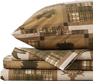 Great Bay Home 4-Piece Lodge Printed Ultra-Soft Microfiber Sheet Set. Beautiful Patterns Drawn from Nature, Comfortable, All-Season Bed Sheets. (King, Stonehurst)