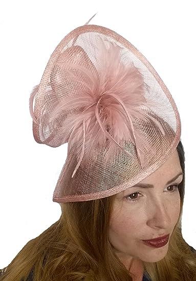 Martha Rose Boutique Blush Pink Sinamay   Feathers Twist Hat Fascinator -  Occasion Wedding Races  Amazon.co.uk  Clothing 0f60f341f79