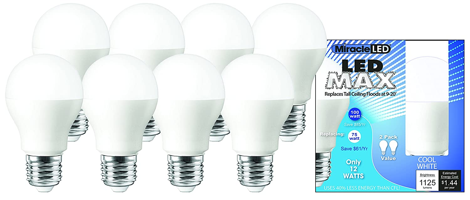 12W White 8-Pack Max Cool Bulb 6 MiracleLED 604981 Replaces 100W Flood Light 9-20 Ceilings
