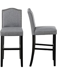 LSSBOUGHT Nailhead Barstools With Solid Wood.