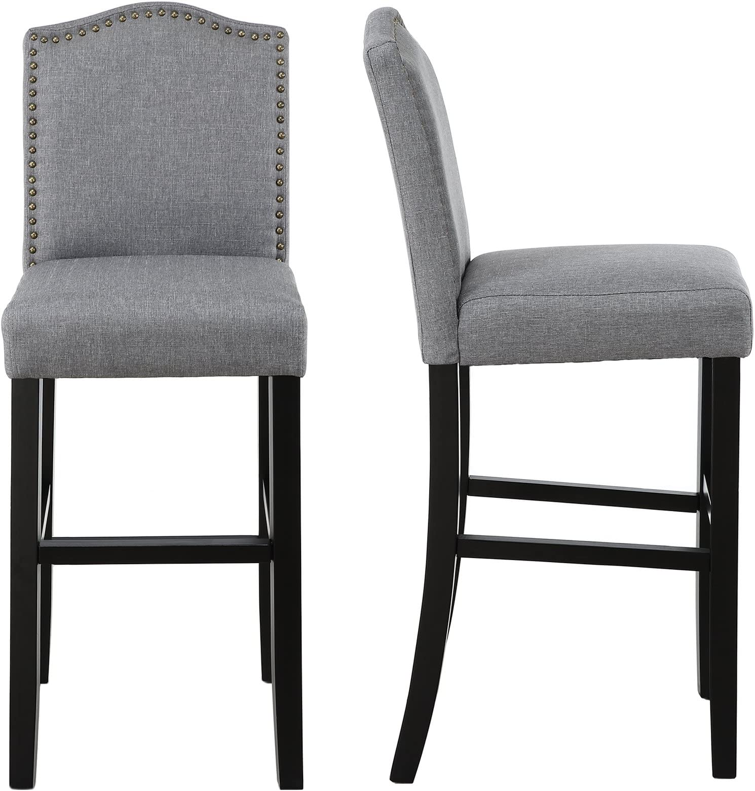 LSSBOUGHT Nailhead Barstools with Solid Wood.  sc 1 st  Amazon.com : wooden bar stools with backs - islam-shia.org