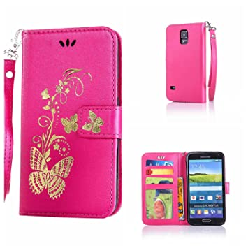 info for a2863 e8d27 CUSKING Galaxy S5 Case, Leather Wallet Case for Samsung Galaxy S5 Magnetic  Flip Folio Lifeproof Protective Skin Case Golden Butterfly Pattern Design  ...