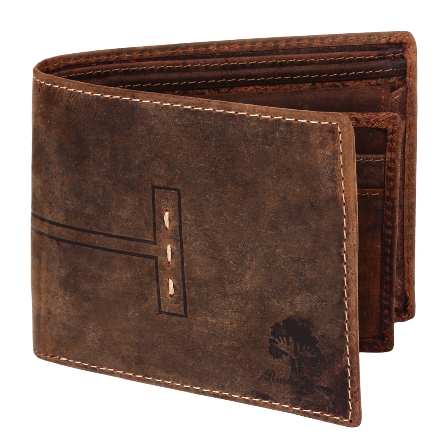 Handmade RFID Blocking Genuine Leather Bifold Wallets with Coin Pocket Designer Engraved Fashion with Card Pockets for Billfolds Cash By Rustic Town ~ Gift for Teen Boys Girls Men Women (Dark Brown)