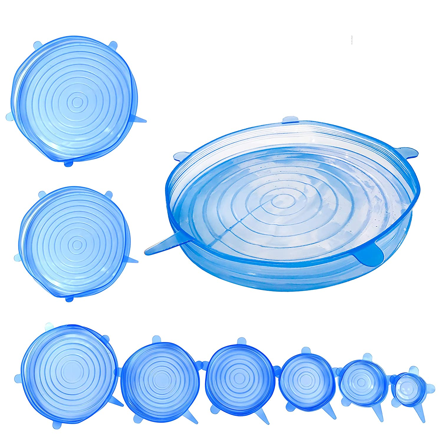 blue. pans pots vegetables /& fruit For cans Eco-friendly reusable alternative to cling film bowls Set of 8/Nefas stretch silicone airtight lid