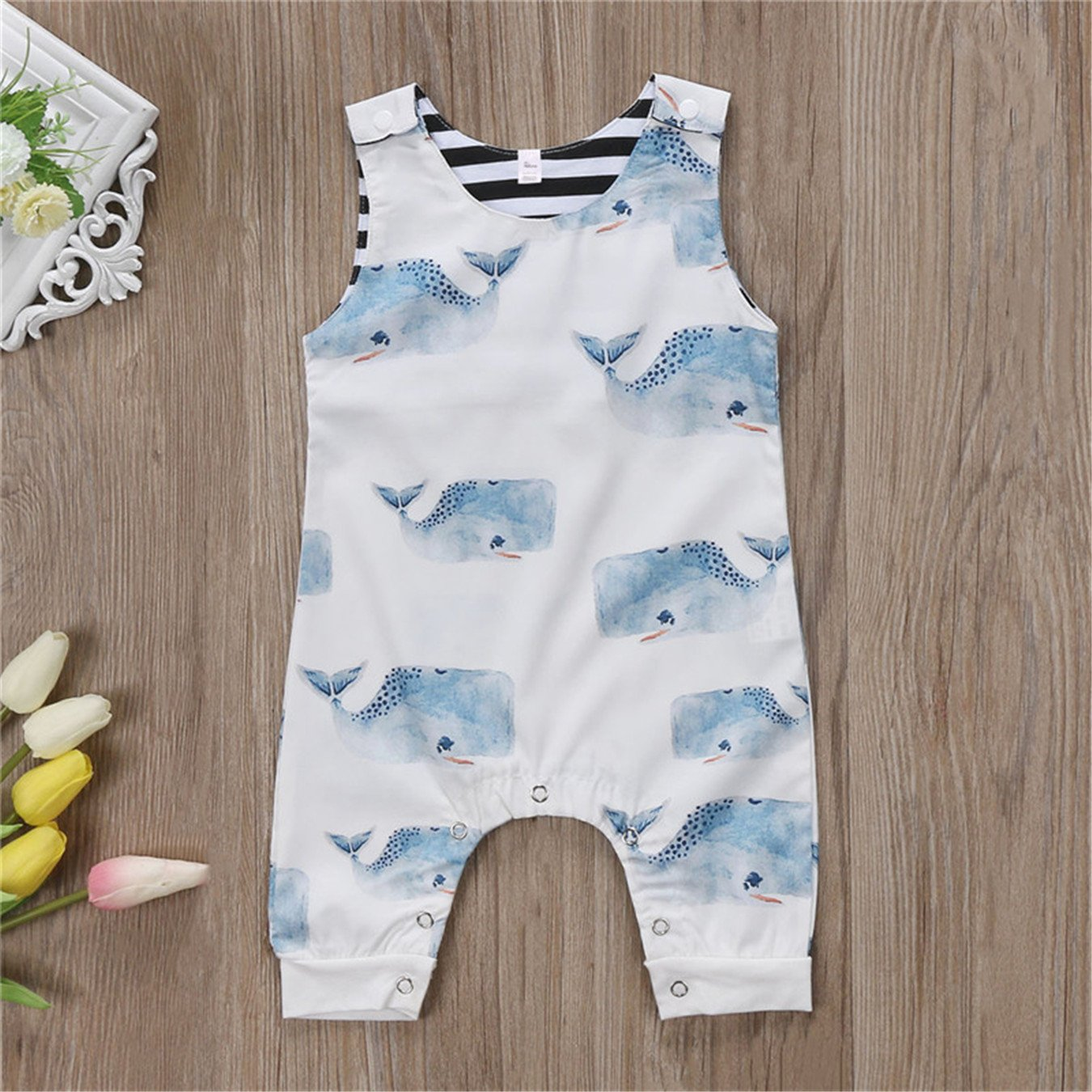 Newborn Baby Boys Girls Romper Sleeveless Summer Whale Jumpsuit Playsuit Outfits Boy Girl Rompers Round Neck