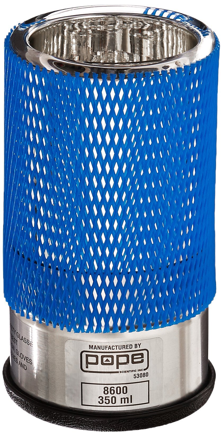 POPE SCIENTIFIC 8600 Lab Grade Standard Base Cylindrical Wide Mouth Dewar, Mesh Covering, 350 mL Volume, 70 mm ID x 86 mm OD x 157 mm H
