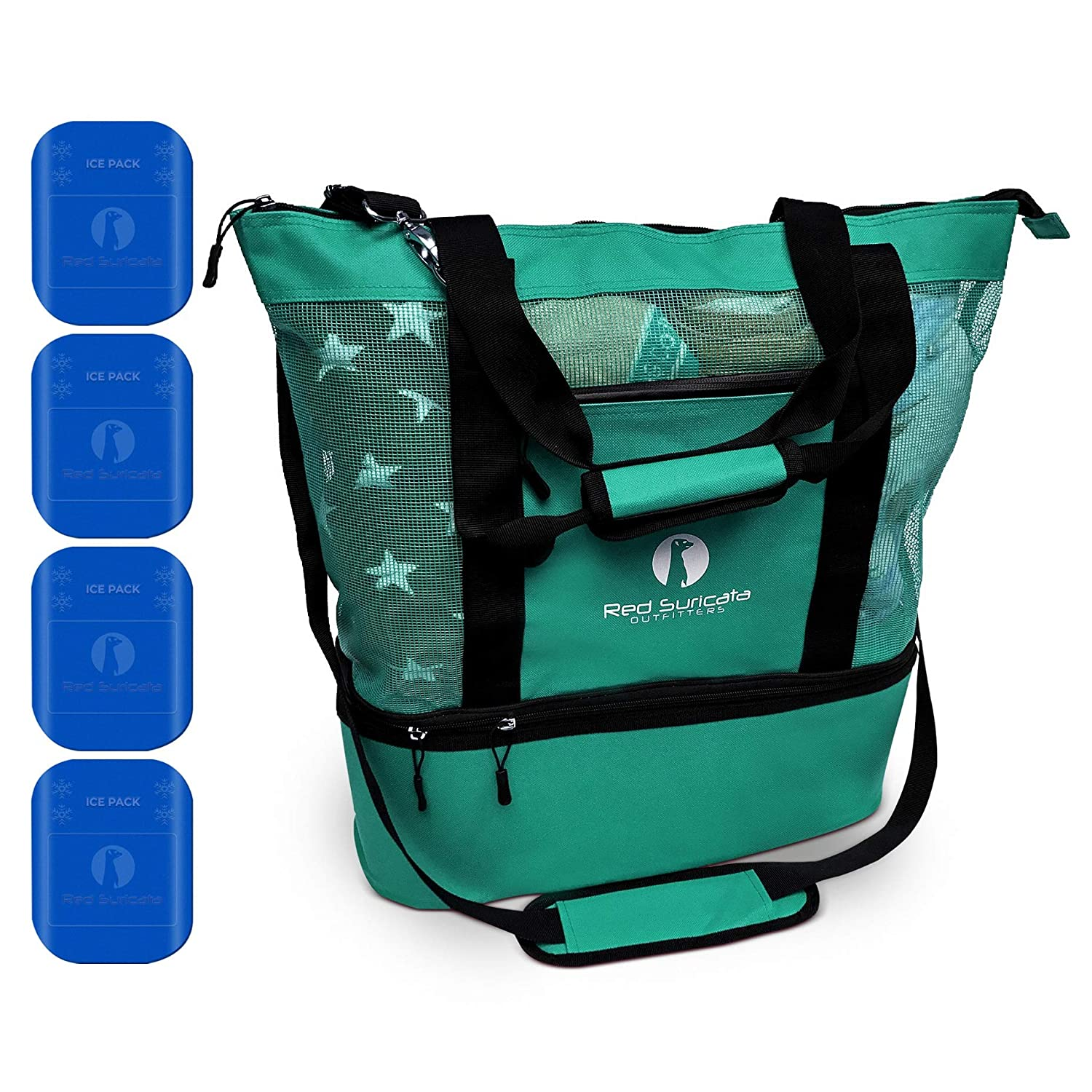 Red Suricata Mesh Beach Bag Cooler – Beach Tote with Leak-proof Rigid Cooler Beach Bags for Women Men Turquoise Green