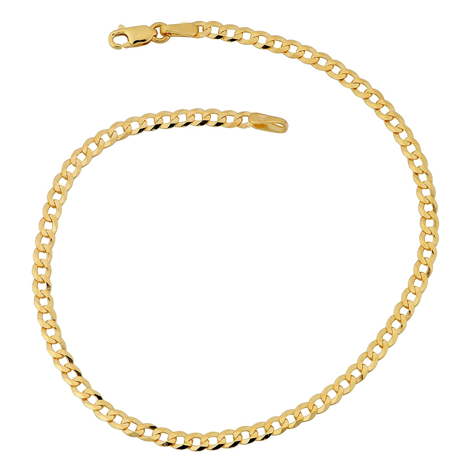 10k Yellow Gold 2.7mm High Polish Curb Link Bracelet (7 or 8 inches)