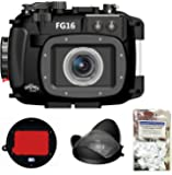 Canon G16 Underwater Housing Fantasea FG16 w/ Red Filter & Wide-Angle Lens