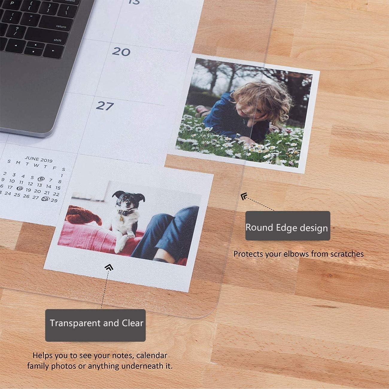 90x50cm tapis de souris lisse inclus bord rond pour dessin pour enfant Tapis de bureau imperm/éable en PVC transparent avec protection antid/érapante