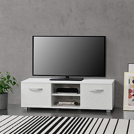 Bianco Mobile Porta TV con 2 Armadi e 2 Ripiani con Passaggio Cavi 120 x 40 x 38 cm Supporto TV Tavolino Consolle