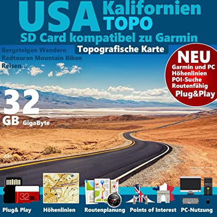 Usa Kalifornien United States California Garmin Karte Outdoor