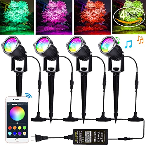 Autai Led Landscape Lighting 12W RGB Color Changing Bluetooth App Controlled 24V low voltage landscape lights With Transformer IP66 Waterproof Outdoor Spotlights for Trees Pathway Garden Lights 4Pack