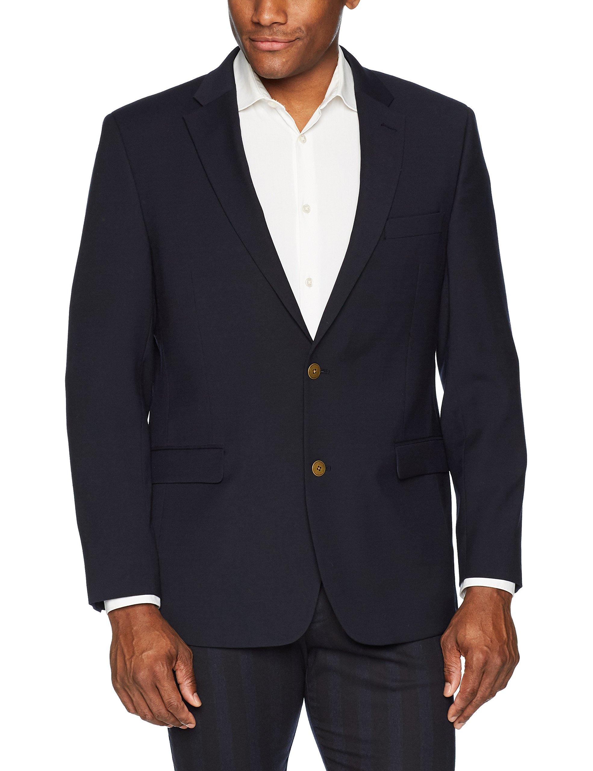Tommy Hilfiger Men's Modern Fit Stretch Comfort Blazer, Dark Navy Weave, 46 Long by Tommy Hilfiger
